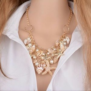 Jewelry - Pearl Shell Star Gold Charm Choker Chain Necklace